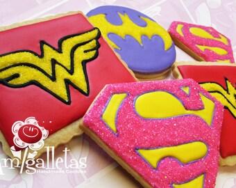 Superhero girl cookies - 1 dozen
