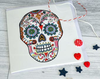 Sugar Skull Card: birthday card, illustration, day of the dead, colourful drawing, poster, skull and bones, blank card, teenager, emo, skull