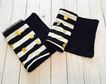 CHIC STRIPE Burp Cloth Set of Two Black White Gold Burp Rag Minky Baby Shower Gift BizyBelle