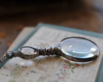 NOSTALGIC LOUPE, glass diamond, retro pendant, recycled pendant, vintage pendant, loupe necklace, loupe pendant, gift for her, mariaela
