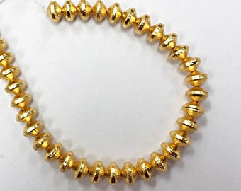 """12mm Rondelles Brushed Gold, 12mm x 8mm, 27 Beads, 1.7mm Hole,Anti Tarnish, 24K Gold Plated Copper, 7.5"""" strand - GPC004"""