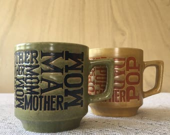 Vintage Typography Mom and Dad Coffee Mugs