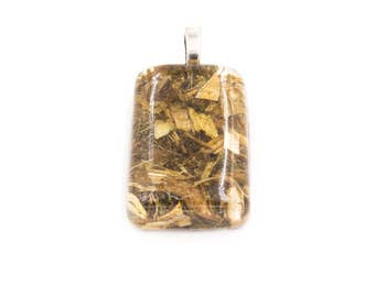 Holy Blessed Thistle herb in Resin Pendant Rectangle