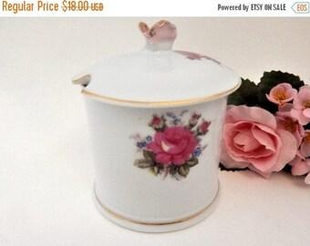 Covered Jelly Dish White Porcelain Sugar Bowl Jam Sauce Serving Pink Rose Bouquet Gold Trim Feminine Elegant Entertaining Tableware