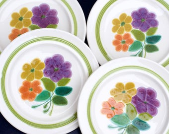 Vintage 1970s Franciscan Earthenware Floral Salad Plates | Set of 4