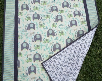 Cot quilt , crib quilt, baby quilt, toddler quilt, lap quilt, Elephants in aquas and grey