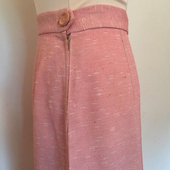 1940s skirt pink garbadine slubbed white UK 10 12 high waisted Wartime handmade WW2 A line separates metal zip 40s