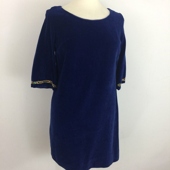 1960s dress vintage velvet dress electric blue UK 12 14 royal blue shift mini dress 50s dress mod gogo flared sleeves braid trim