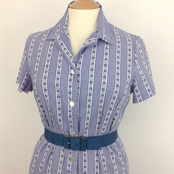 Vintage gingham cotton dress striped dress shirtwaister shift style Mod summer UK 14 1960s 1970s blue white check