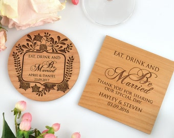 25 x Engraved Wedding Wooden Coasters