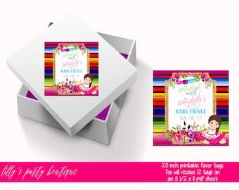 Fiesta Baby Shower Tags, Mexican Fiesta Baby ShowerTags, Senorita, Fiesta, Floral Fiesta- YOU PRINT