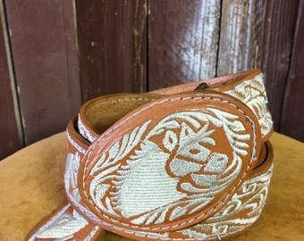 Embroidered Horse Leather Belt & Buckle