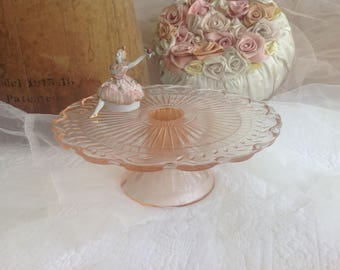 Sweet vintage pink glass and scalloped cake plate pedestal