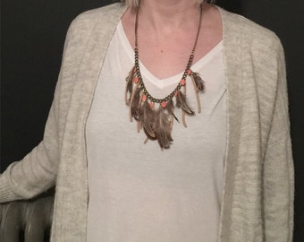 Feather & Peach Bead Necklace
