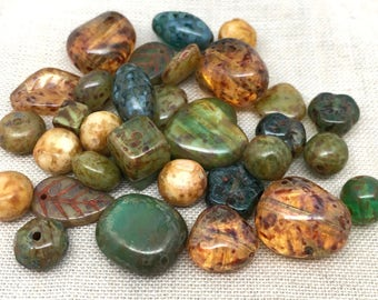 25 Earthy Mixed Picasso Czech Glass Beads