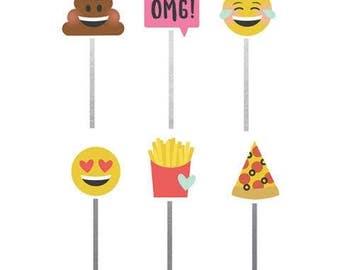 Simple Stories - Carpe Diem - Emoji Love Collection - Decorative Clips - 6 pieces - 8021