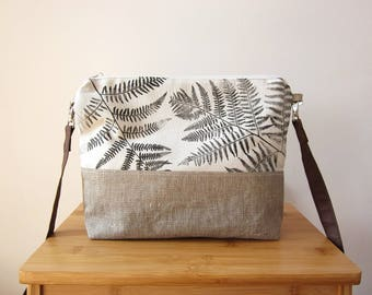 Ferns Crossbody bag, Hand printed bag, Ferns stamp, medium сице handbag, Every day bag, linen bag