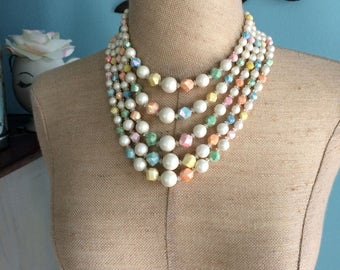 Vintage 5 Strand Beaded Necklace