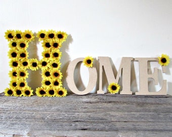 Custom Word Signs- Home Sign Letters- Sunflower Home Decor Signs- Floral Letters- Home Sign Wood- Sunflower Decorations- Sunflower Wedding