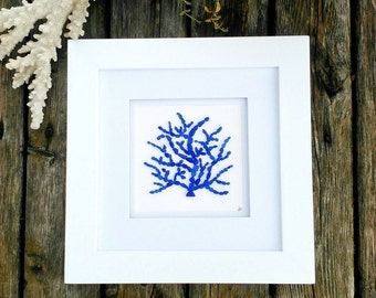 Ocean tumbled sea glass art// Cobalt sea glass coral