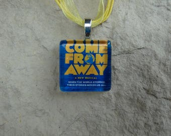 Broadway Musical Come From Away Glass Pendant and Ribbon Necklace