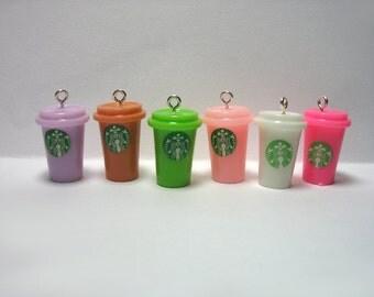 Kawaii Charms - Coffee Cup Charms - Cute Food - Kawaii Cabochons - DIY Charm Bracelet - Cute Foods Charms- Tiny Kawaii Food & Drinks Set 11T