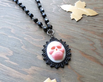 Skull Cameo Necklace - Pink and Black - Rosary Chain - Filigree necklace - Goth Necklace - Vampire