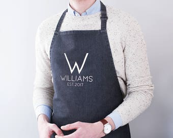 Personalised Family Name Denim Apron - Family Apron - Kitchen Apron - Cooking Apron - Personalised Apron - Custom Apron - Gift For Chefs