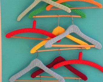 Set of 12 vintage funky kitschy crochet retro  Clothes Coat Hangers Shop Display 1960s 1970s