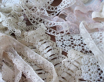Vintage French Lace , Craft Supplies , Lot of   Vintage Lace ,  Trims , Cotton Lace  , Collage Art ,