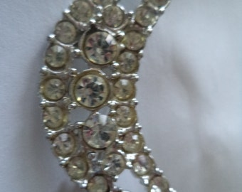 Fabulous Unsigned Silvertone/AB Stones Crescent Moon Brooch/Pin