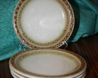 4 Syracuse China Dessert Plates Cinnamon Pattern Restaurant Ware 1979