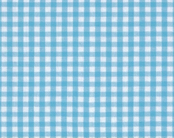 """Turquoise Blue Gingham curtain valance 42"""" x 15"""" in 100% cotton - handmade new."""