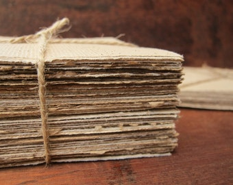 "Handmade coffee paper, Recycled paper sheets, 24 Handmade paper squares, Homemade paper, Textured paper, Natural paper, 4"" x 4"" (10 x 10cm)"