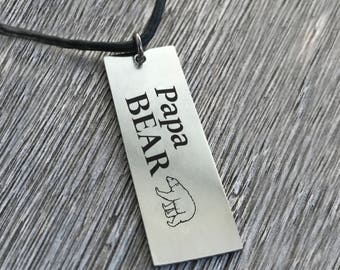 Papa Bear Necklace Personalized Mens Necklace Leather Necklace Custom Text Engraving Memorial Gift Musician Heartbeat Necklace Mens Jewelry