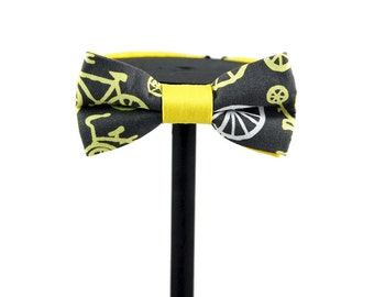 Yellow and Grey Bicycle Print Bow Tie | Gifts for him | Cycling | Groom