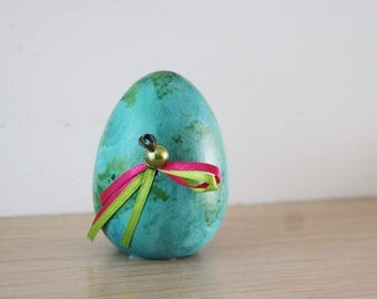 Blue green Easter egg, with ribbons and pearl, ceramic, earthenware egg in acrylic paint and varnish, Greek Easter egg, self standing egg