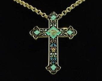 JBK Venetian Cross - Jackie Kennedy 24K GP Cross Necklace Pin Pendant with Box and Certificate (no stand)