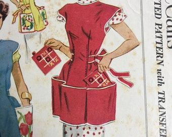 Original 1952 Simplicity 1713 Misses Cobbler Apron Pattern Cut Complete with Tic Tac Toe Transfer Size Small 10 to 12
