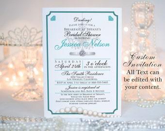 "Breakfast at Tiffany's Invitation || Bridal Showers, Birthday Party, Bachelorette Parties || Custom Digital Download || 5""x7"" || Jewelry"