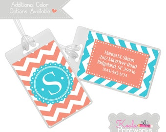 Personalized Luggage Tag - Bag Tag - You Choose the Colors & Personalization Style - Chevron - Monogram Luggage - Bridesmaid Gift