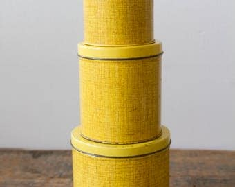 Vintage Yellow Canisters - Set of Three