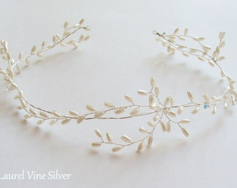 Laurel Bridal Halo Gold-Silver-Rose Gold. Wedding Hair Vine, Pearl Hair Vine, Wedding Headdress, Bohemian Wedding Halo, Wedding Crown, Tiara
