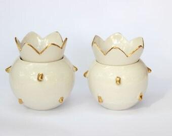 Honey Pot, Sugar Bowl, White Limoges Porcelain, Real Gold Accent, Wedding Gift, Pomegranate Art, Office Supply Paper Clip, Condiment Holder