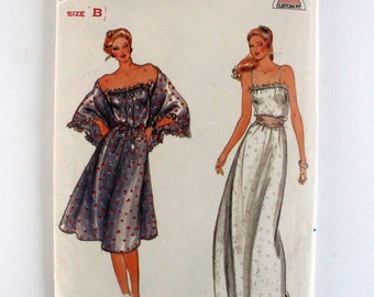 Strapless Evening or Knee Length Dress with Shawl Ladies/Misses' Size 12, 14 16 Butterick 3737 Uncut Vintage 1980's Elastic Waistline