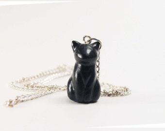 Tiny black cat necklace