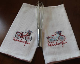 Set of Two Tea Towels, Dish Towels,Kitchen Towels, Embellished Towel, Embroidered Towel, Decorated Towel, Bicycle Towel