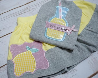 Lemon outfit Lemonade stand outfit lemon shirt lemonade stand shirt yellow and gray pink lemonade party lemon birthday girls summer outfit