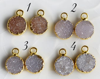 Matched Pair Druzy Rounds, Druzy Circles, Electroplated with 24K Gold, Earring Findings