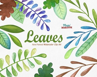 Leaves Watercolor Clip Art Set, Hand drawn Leave, Diy clip art, Green Leaf, Foliage, Garden Wedding Clipart, Watercolor branches, Greenery